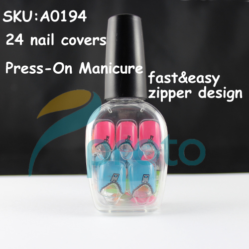 NEW Fashion 24 Nail Full Covers Press-On Manicure Perfect Gift Salon Manicure Nail Art - Zipper Dropship [Retail] SKU:A0194