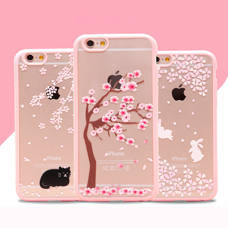 Cheap Coque For iPhone5 Cute Lovely Girl Pink Flower Tree Cat Bunny TPU + PC Back Cover Case For iPhone 5 5s 5SE Clear Capinha(China (Mainland))