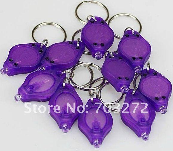 50pcs/lot freeshipping 1led mini keychain light  PK UV led flashlight with keychain Wholesales!