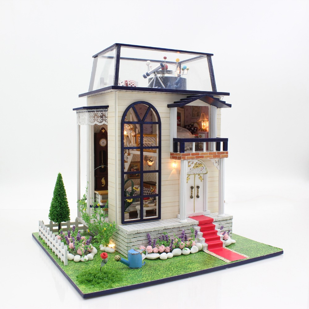 Prince duplex villa large diy wood nordic style doll house for Diy house