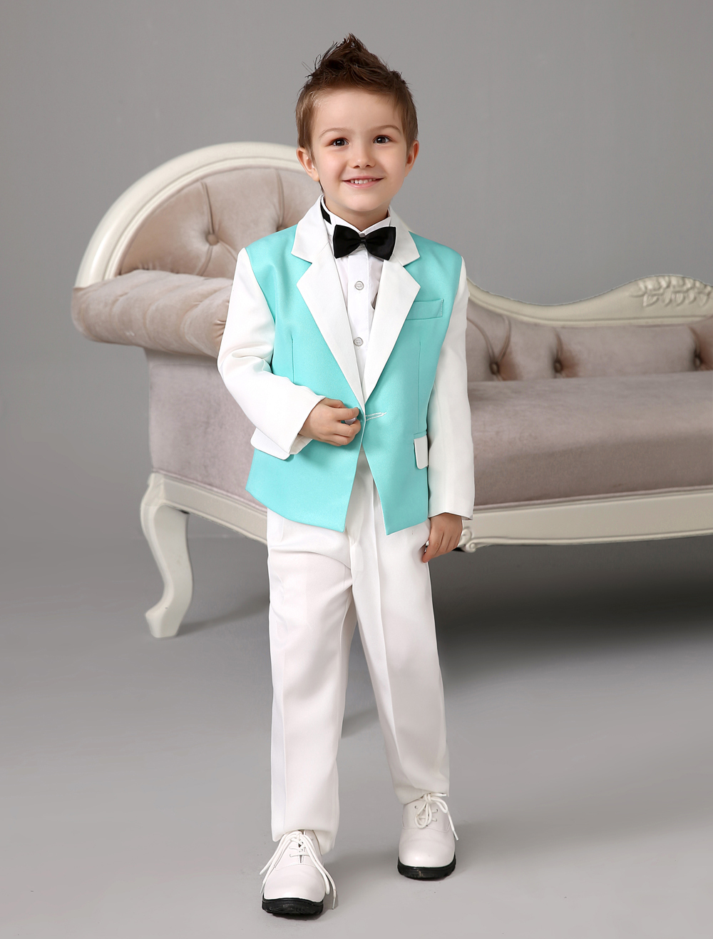 Four Pieces Luxurious formal green and white boys suits Ring Bearer Suits kids Tuxedo With Black Bow Tie boys outfit suits(China (Mainland))