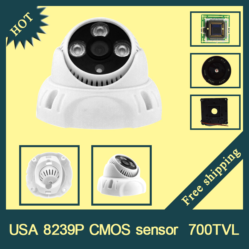 HR appearance,USA 8239P CMOS  700TVL 3.6/6mm lens,with 3 wafer H.LED IR distance 15 meters Dome CCTV camera<br><br>Aliexpress
