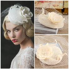 Nuova biancheria da sposa in pizzo cappelli 2016 per i fiori di nozze perle da sposa birdcage veil cappelli per la sposa accessori da sposa BH9(China (Mainland))
