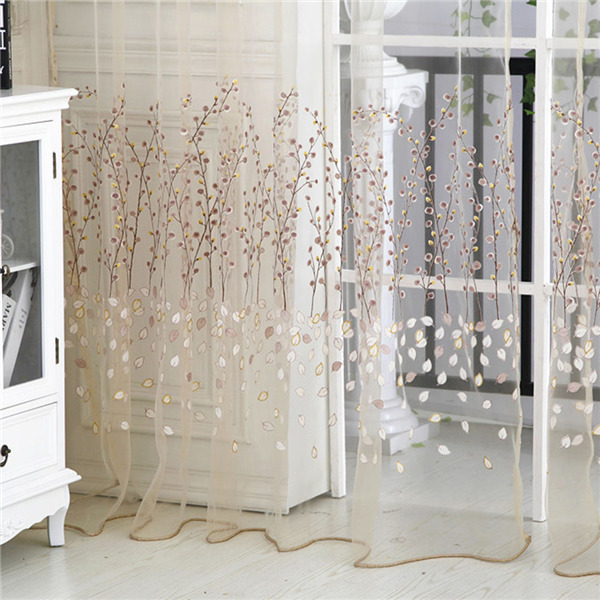 1M*2.7M New Hot Floral Sheer Tulle Voile Door Curtain Window Living Room Drape Panel Scarf Valance(China (Mainland))