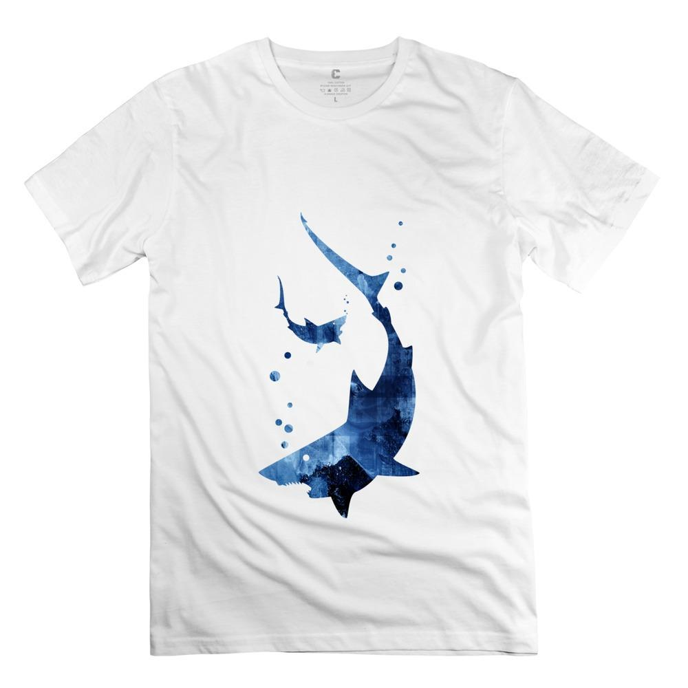Drop Shipping Men T Shirt Sharks 100 Cotton Screw Neck