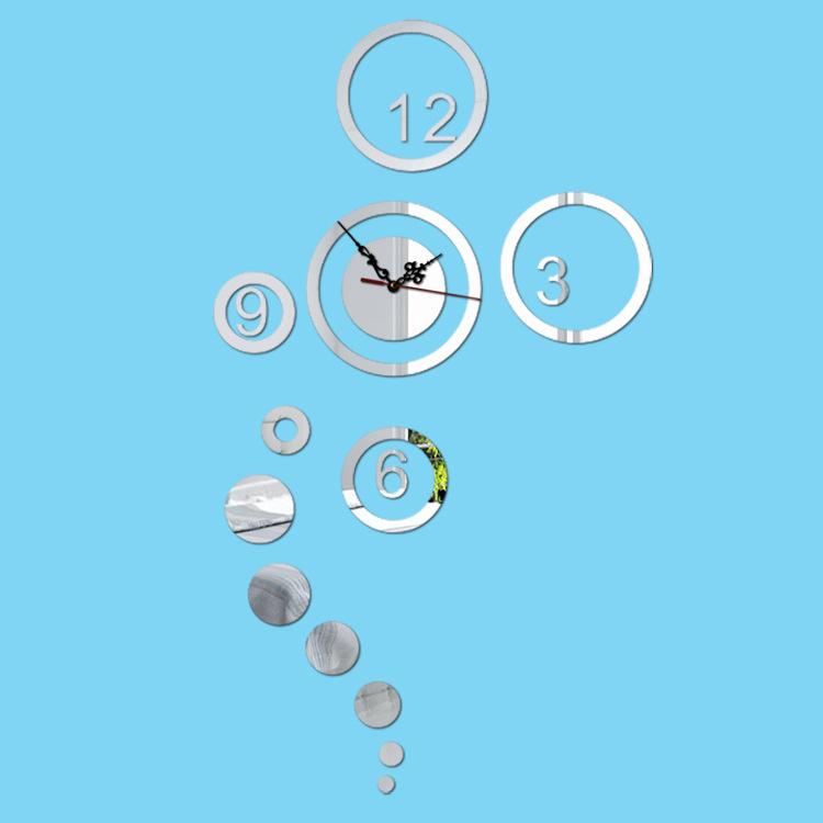 2016 3D Fashion Ikea Home Decor Diy Wall Clock Metal Acrylic Digital Bubbles Shape Wall Stickers Modern Design Relogio De Parede(China (Mainland))
