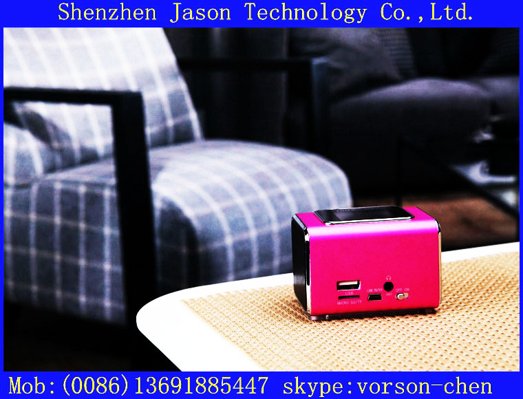 cheap mobile mini radio with external woofer speakers system usb for mobile phone 10pcs/lot(China (Mainland))