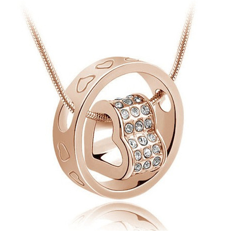 Christmas Gift For Women Crystals Love Heart Pendants Necklaces Silver Plated Chain Necklace 2016 Fashion Brand(China (Mainland))