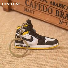 Mini zapatillas de deporte de HowPlay llaveros jordan 1 bolsa de encanto zapato de baloncesto modelo llavero AJ1 mochila con colgantes llavero regalos creativos(China)