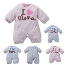 Newborn-12M I love Mama Papa/Mom Dad Long-sleeved Winter Warm  Baby Clothing Jumpsuit Lined Clothes boy and girls(China (Mainland))