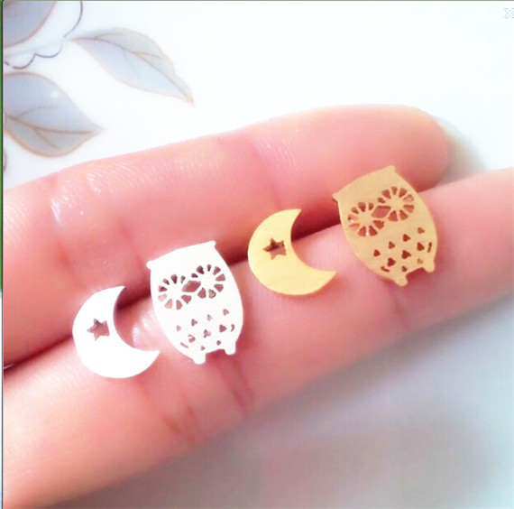 2015 The new listing Rose Gold Plated Stainless Steel Mis-Match Stud Earrings Dinty Cute Crescent Moon and Owl Post Earrings(China (Mainland))