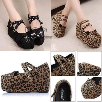 2013 Cat Animal Leopard Print Black Suede Mary Jane Straps Creeper Flatform Platform High Heel Wedge Shoes Rivet For Women