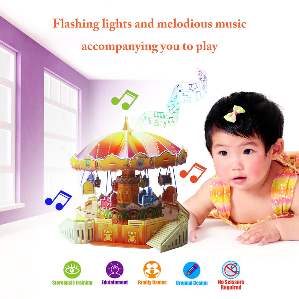 New Kids Toys 3D Puzzle Amusement Park/Ferris Wheel with Music and Lights 360-degree Rotating Puzzle DIY Educational Toys(China (Mainland))