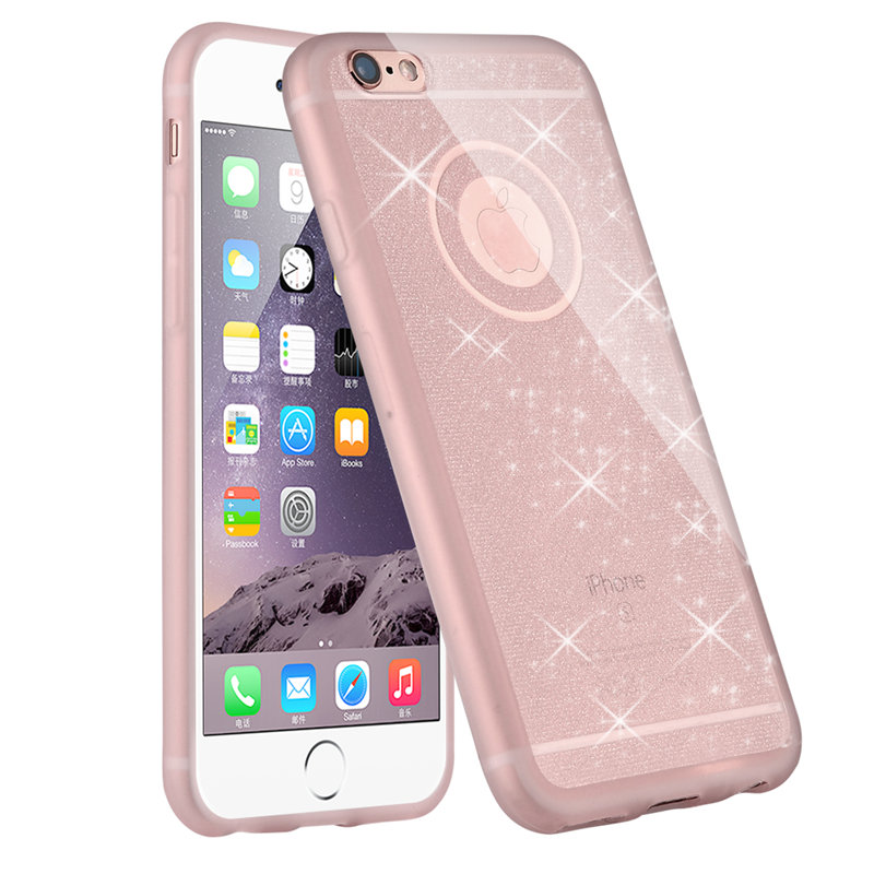 5S 6S pink color phone case For iphone 5 6 6 plus 6s plus mobile phone accessories TPU soft shining golden Bling cover For apple(China (Mainland))