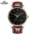 Luxury Watch Men Brand GUANQIN Ultra thin Mechanical Automatic Watch Mens Watches Leather Watchbands reloj hombre