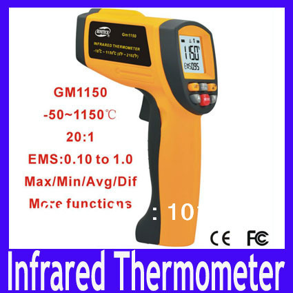 Free shipping High Quality GM1150 Hand-held Infrared Thermometer -50 to 1150 Degrees ,MOQ=1