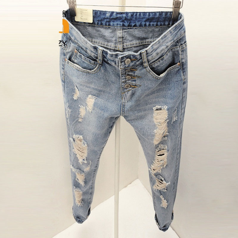2015 New Fashion Summer Style Women Jeans ripped Holes Harem Pants Jeans Slim  vintage boyfriend jeans for women TB493