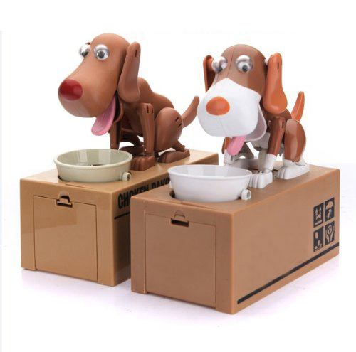 IMC Hot Robotic Dog Puppy Hungry Hound Bank Coin Eating Save Money Box Collection Gift(China (Mainland))