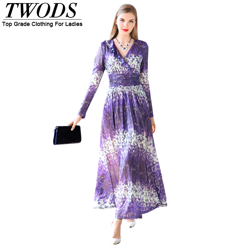 Twods 2016 New Elegant Long Sleeve Maxi Dress Ruffles V-neck Slim Fit Flare Ladies Long Party Dresses Plus Size Women Colothing