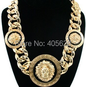 Gold Chunky  Heavy Metal Chain Choker Statement Three Head Lion Necklace