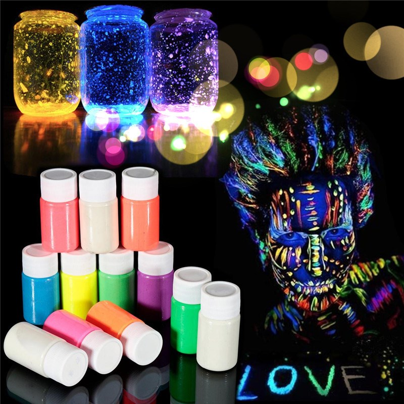 3Pcs Fluorescent UV Grow In The Dark Body Paint Face Painting Acrylic Paints Art for Party&Halloween Makeup Body Painting Color(China (Mainland))