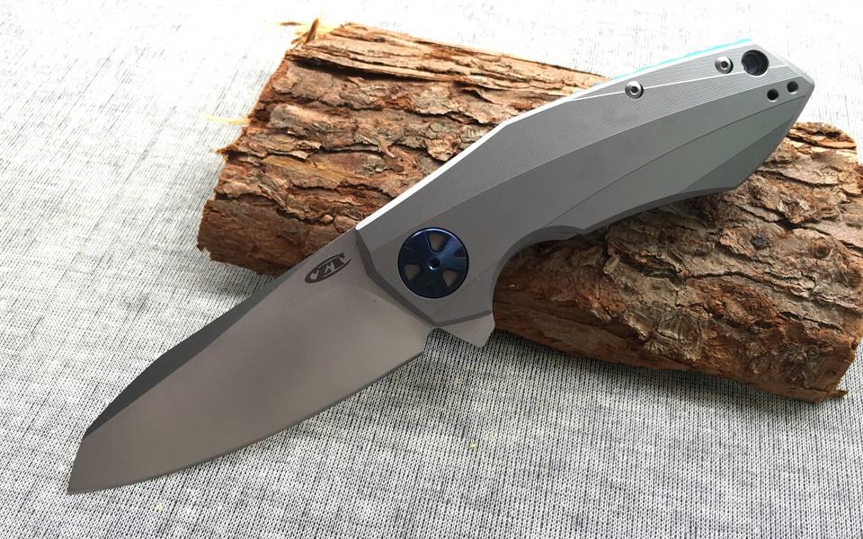Buy New 0456 ZT0456 Flipper folding knife bearing D2 blade Titanium handle outdoor camping hunting pocket fruit knife EDC tools cheap
