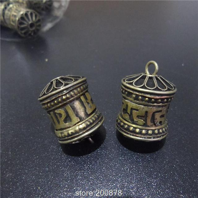 TGB058 Tibetan Antiqued Brass Old Golden Small Prayer wheel box 16mm GAU amulet charms pendant Tibet six words mantras