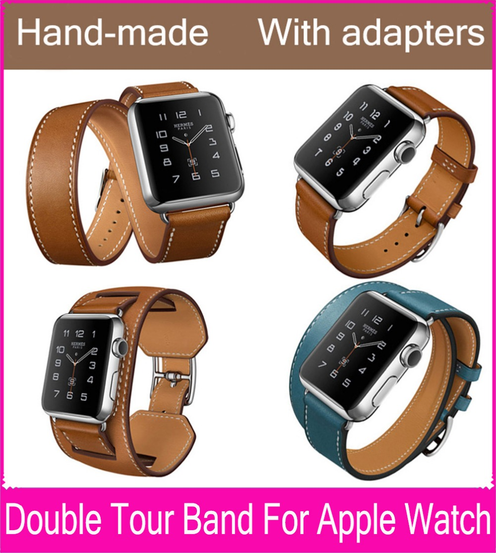The Extra Long Double Tour Genuine Leather Strap For Apple Watch With Original Stainless Steel Adapters 38mm 42mm Are Available(China (Mainland))
