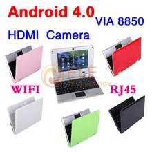 New 7 inch Android 4.0 VIA 8850 DDR3 512M 4GB HDD HDMI Camera WIFI RJ45 Russian keybaord Netbook Laptop Notebook(China (Mainland))