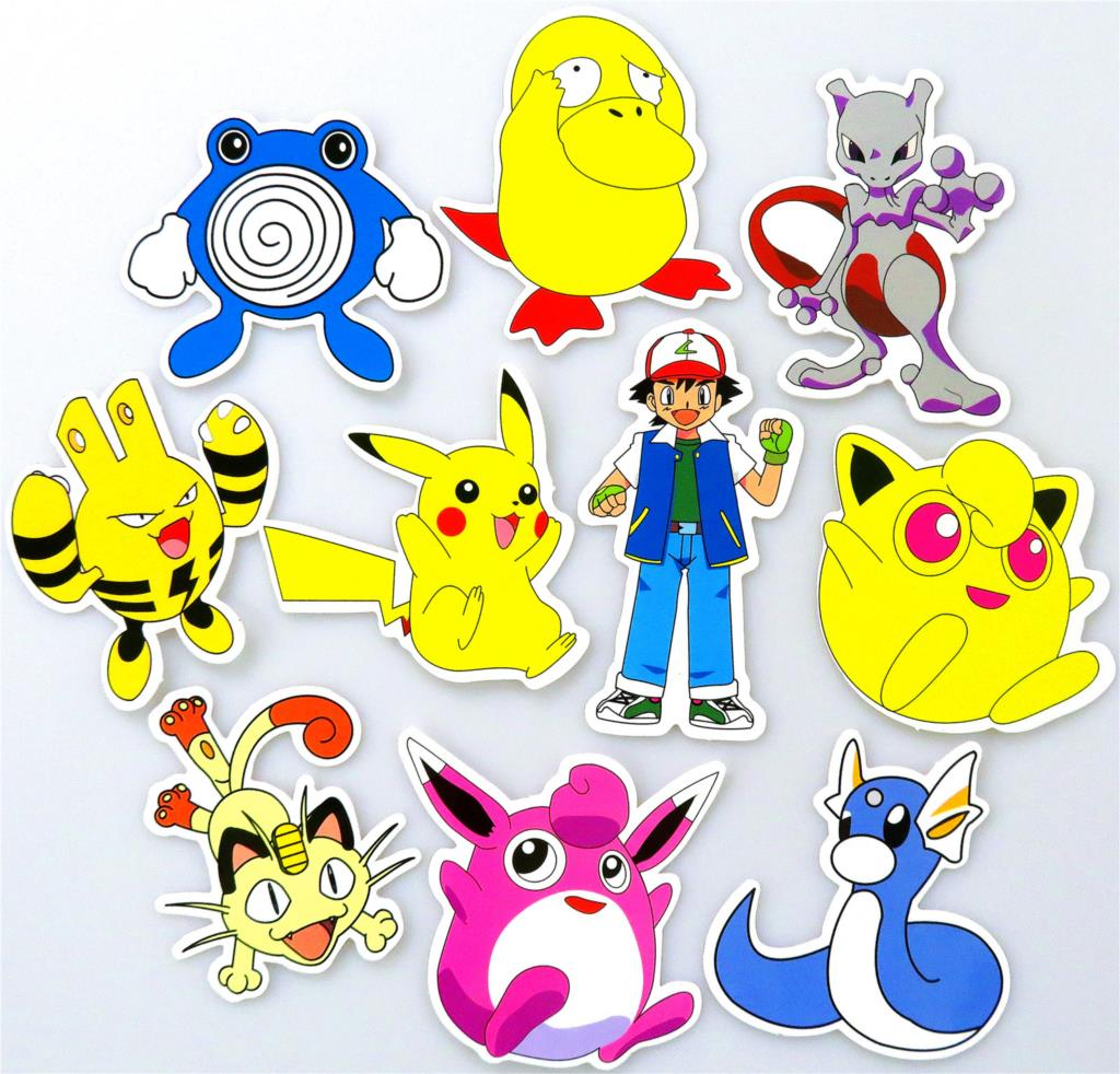 43 pcs Stickers Pokemon Motorcycle Laptop Skateboard Funny Cartoon Jdm Stickers  Home Suitcase Bike  Vinyl Decals