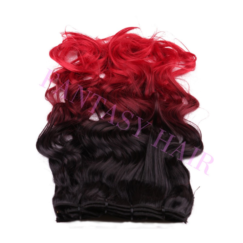 8pcslot 20 inch Brazilian black red ombre body wave weave full head clip in blended synthetic extensions no shedding no tangle-5