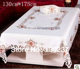 807 / Rectangle 130cm *175cm/ Chinese embroidery hollow round tablecloths / table mat / tea table cloth / Furnishings(China (Mainland))