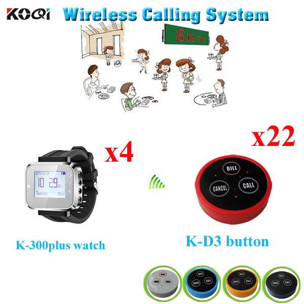 Wireless Table Paging System Remote Vibrating Buzzer Restaurant Order Equipment( 4pcs watch + 22pcs call buzzer)(China (Mainland))