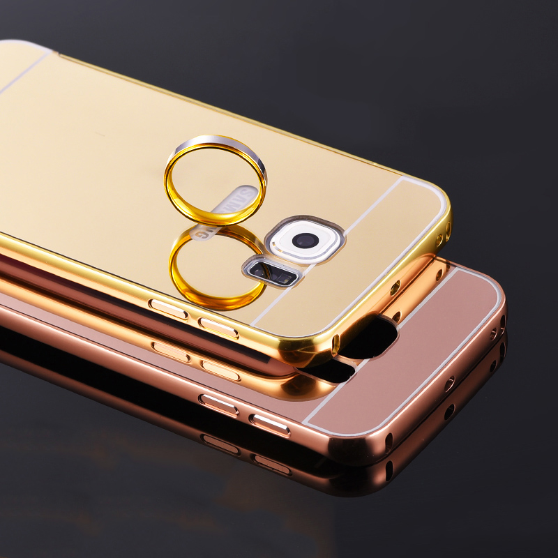 S7 Edge mirror case plating Aluminum Frame + Back Cover For Samsung Galaxy S7 S7 Edge S6 S6 Edge S6 Edge plus S4 S5 Case(China (Mainland))