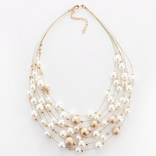 Buy 2017 New Fashion Jewelry Gold Color Multilayer Chain Imitation Pearls Necklaces Women Wedding Bride Necklace for $2.67 in AliExpress store