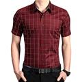 Men Dress Plaid Shirts New 2016 Spring Summer Fashion Men Short Sleeves Men Shirts High Quality