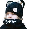 Hot Fashion Child Winter Black Knitting Wool Cat Soft Warm Hats For Baby Girls Shawl Hooded