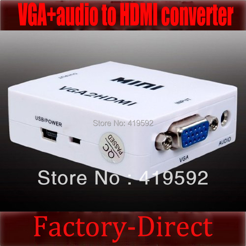 Free shipping&wholesale 1PCS mini VGA to HDMI converter with audio for PC laptop to HDTV Projector(China (Mainland))