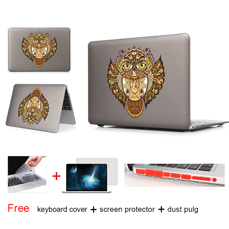 Decorative Owl Print Laptop Case For Macbook Air 13 Case Air 11 Pro 13 15 Retina For Mac Book Air 13 Case A1465 New 12 Inch(China (Mainland))