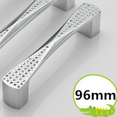 Length 104mm Hole Pitch 96mm silver color Dresser Drawer Pulls Cabinet Knobs And Handles Crystal Glass Furniture Handle(China (Mainland))