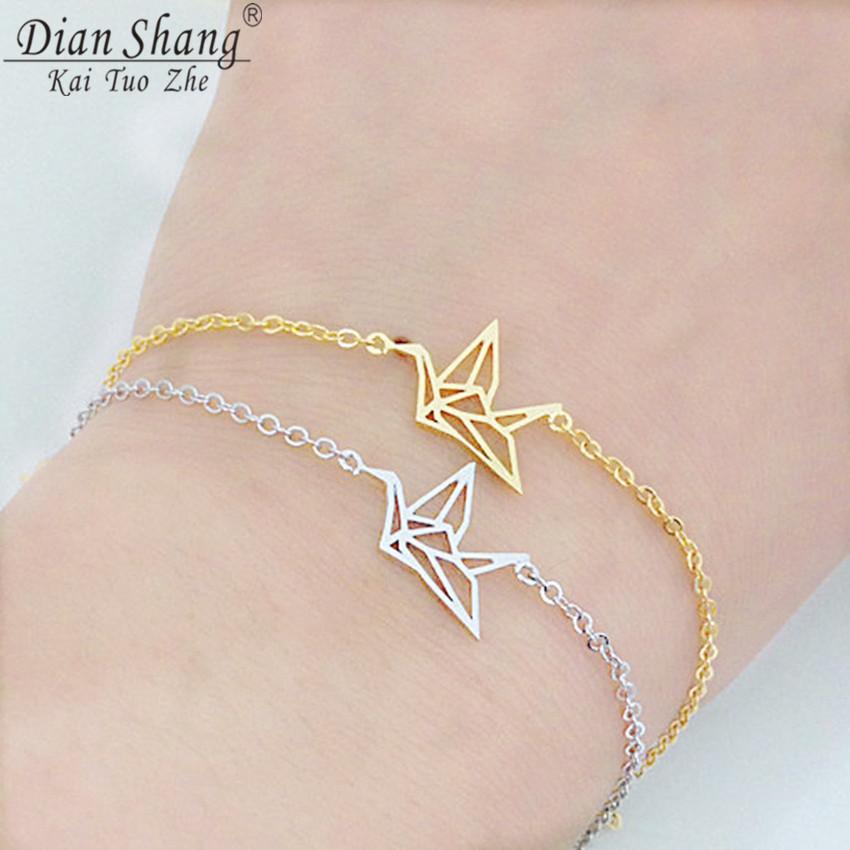 DIANSHANGKAITUOZHE 12016 Fashion Pulseras Stainless Steel Jewelry Gold Silver Cute Origami Crane Charm Bracelet Femme B001 - CC Helen store