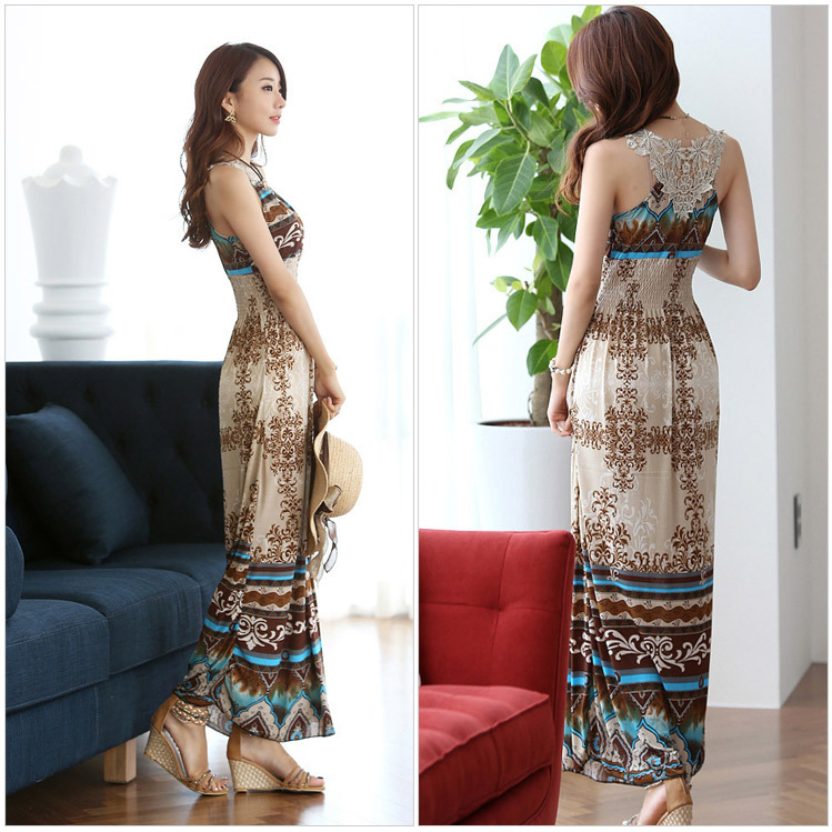 Summer Bohemian style Casual fashion wild women Elegant Wrapped Neck crochet embroidery Tunic beach Maxi Dress Long Sundresses(China (Mainland))