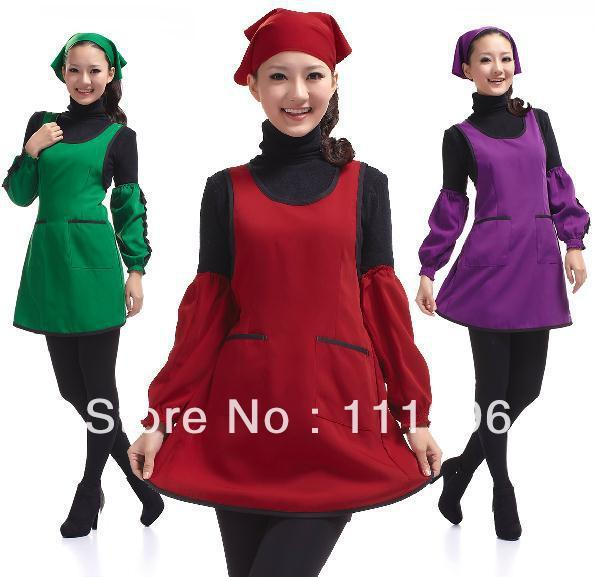 3X 100% polyester women lady red Thicken Apron with Pocket Waiter Butcher Bib Kitchen Craft Chefs Cooking Catering BBQ Bar Plain