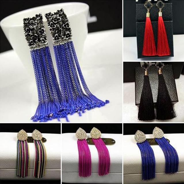 Старинные долго кисточкой серьги для женщин мода капли воды серьги позолоченный роскошные большой серьги прекрасным подарком ювелирные изделия JE016