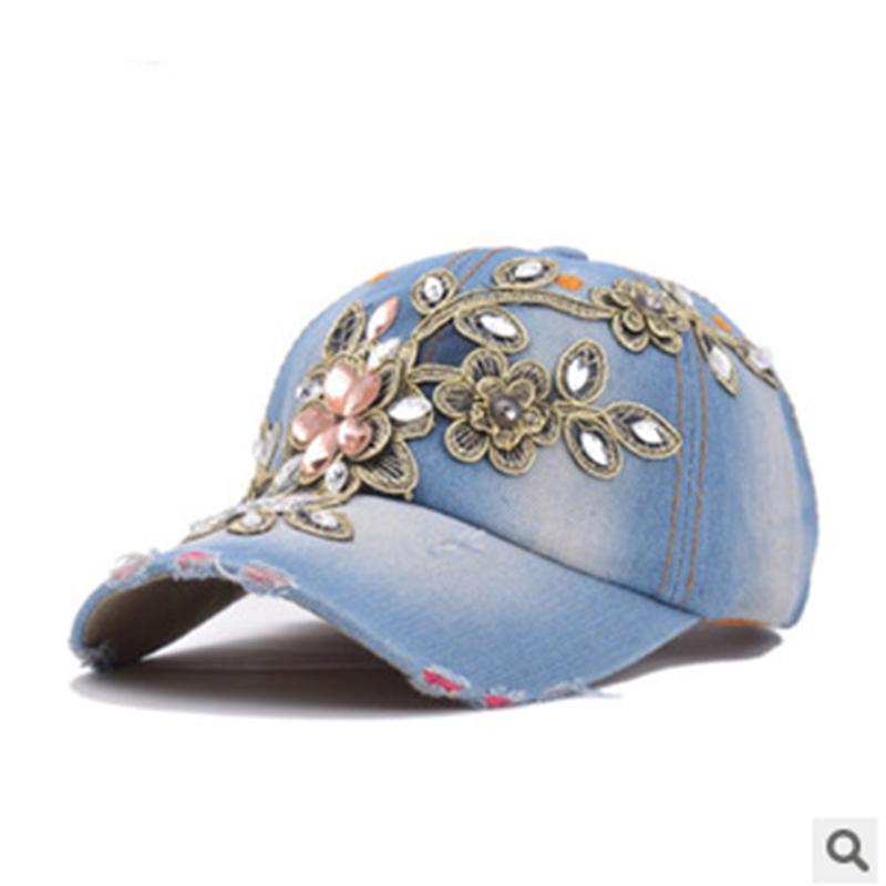 Wholesale Fashion Rhinestone Diamante Denim Baseball Cap Women's Autumn Sports Hat Canvas Snapback Caps Good Quality(China (Mainland))