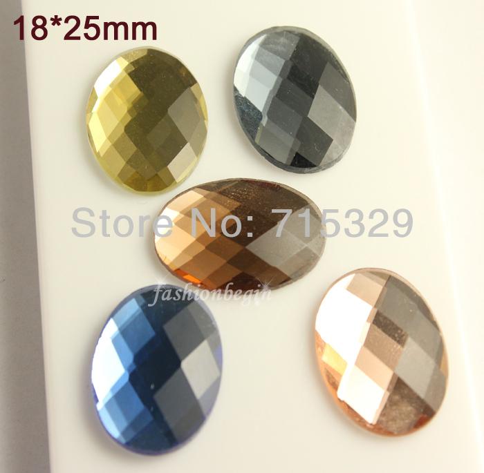 2vintage 18x25mm Oval Czech Crystal glass foiled flatback rhinestones Cabochon buttons beads U-pick color - fashionbegin Industry International store