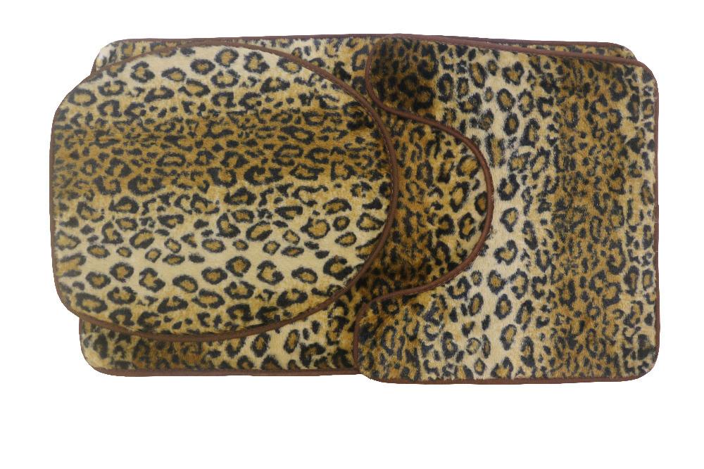 Leopard Print Toilet Cover Set 3 Pc Bathroom Mat Rug Lid