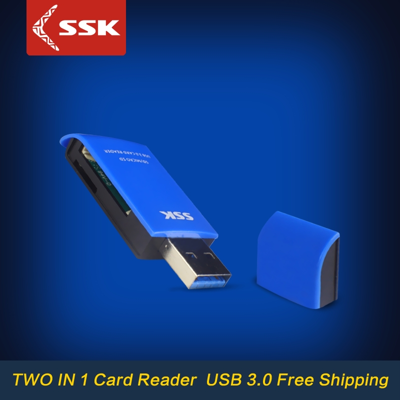 SSK SCRM331 USB 3.0 Card Readers 2 in 1 High Speed USB 3.0 SD / Micro SD / SDXC / TF / T-Flash Memory Card Reader Adapter(China (Mainland))