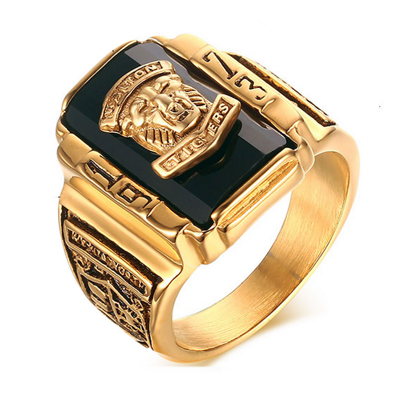 Suohuan Male Cool Lion Head Rock Punk Ring 18K Gold Plated Large Black CZ Stone Men Ring Men Jewelry School Party Rings for man(China (Mainland))