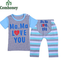 Baby Sleepers I Love Mom Dad Newborn Infant Pajama Set Summer Short Sleeve Baby T-shirt+pants Toddlers Girls Boys Pyjamas Set(China (Mainland))